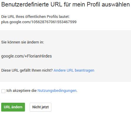 Google+ Custom-URL Florian