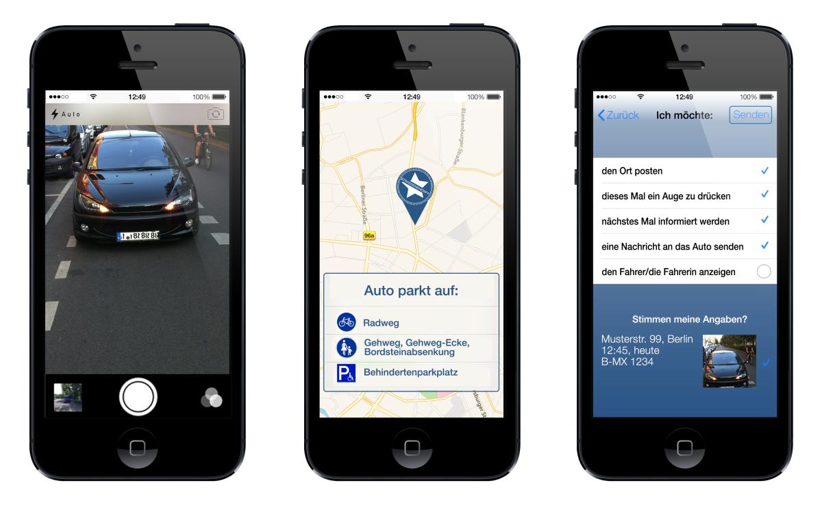 Falschparker können mit dieser App auf verschiedene Arten gemeldet werden.