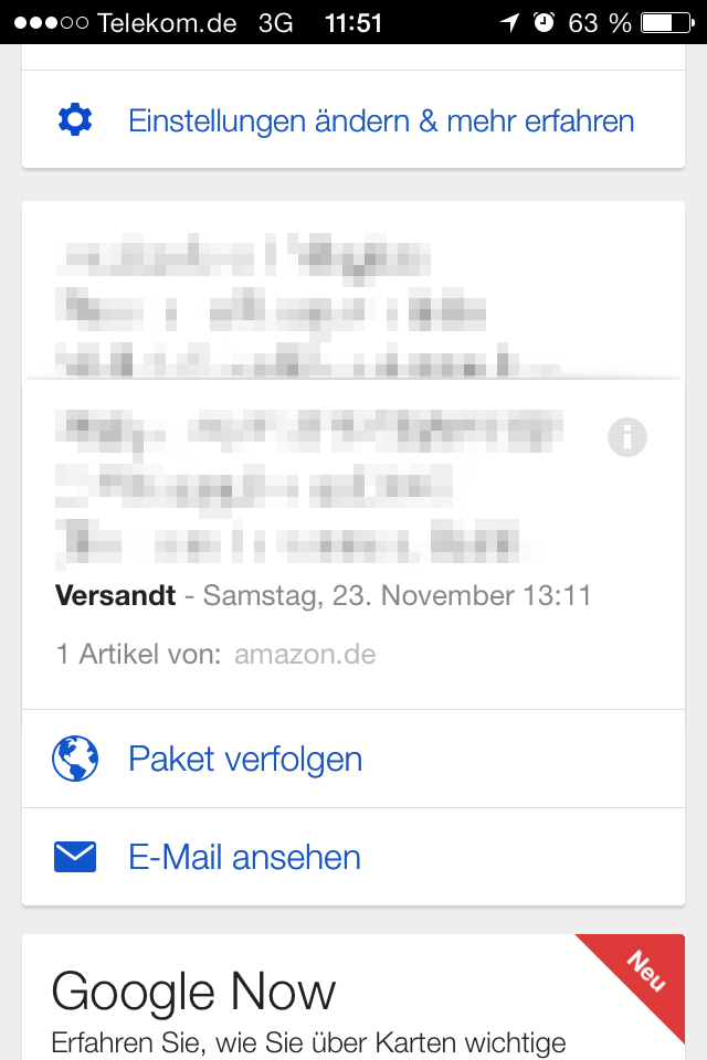 Google Now Amazon Paket verfolgen