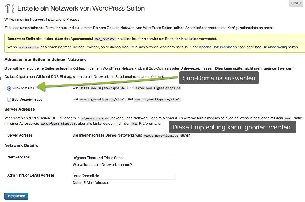 WordPress Multisite Netzwerk erstellen