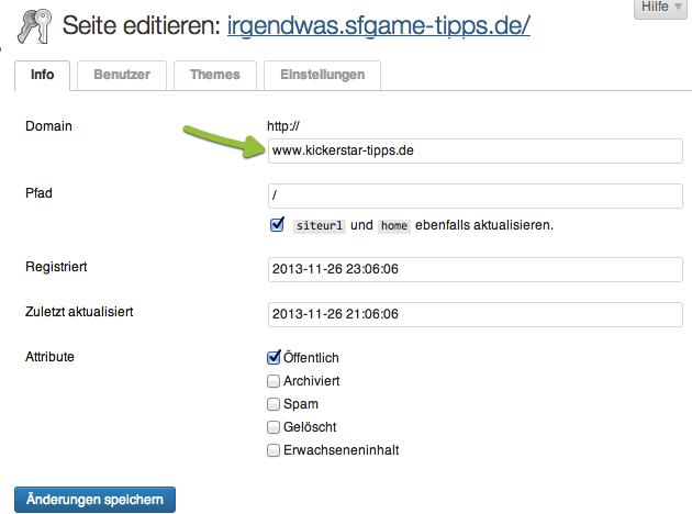 WordPress Multisite Seite editieren