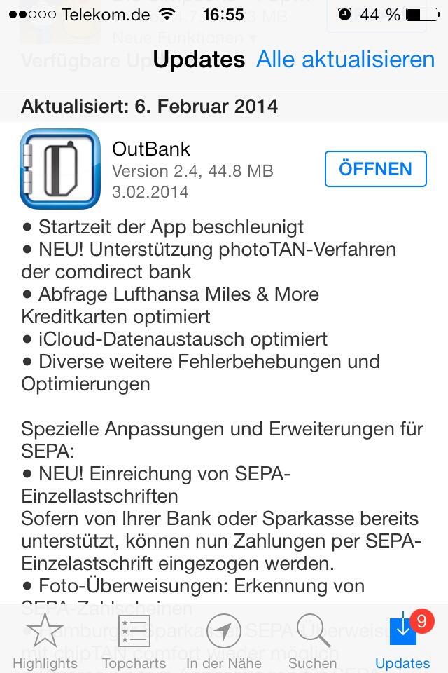 OutBank Update 2.4 für iOS